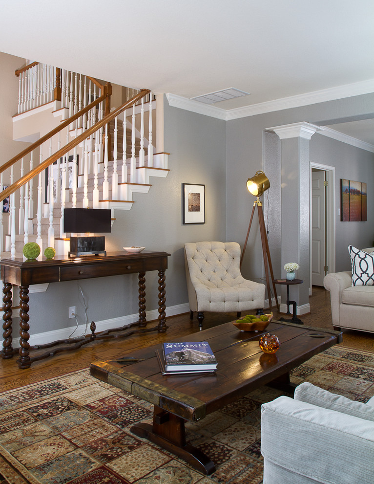 Living room - traditional living room idea in Austin with gray walls