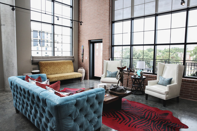 Large Urban Formal Concrete Floor Living Room Photo In Houston With Beige  Walls And No Tv