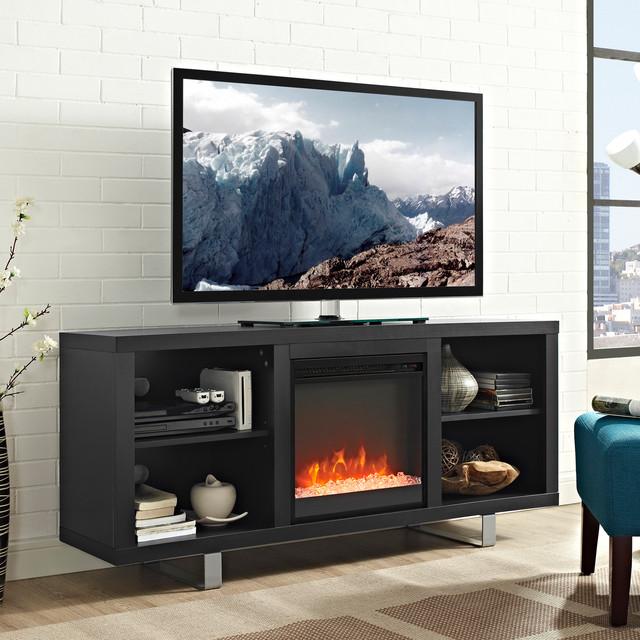Modern Electric Fireplace Tv Stand, Black Media Storage Tv Stand And Electric Fireplace