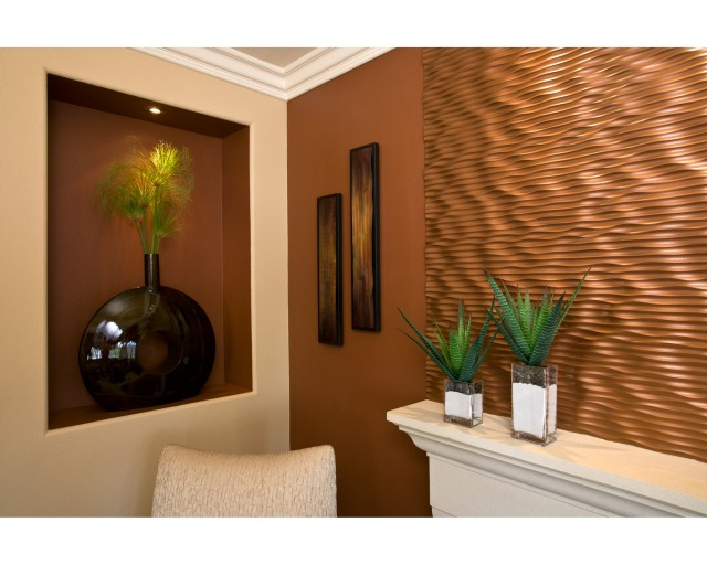 Example Of A Trendy Living Room Design In Orange County With Brown Walls