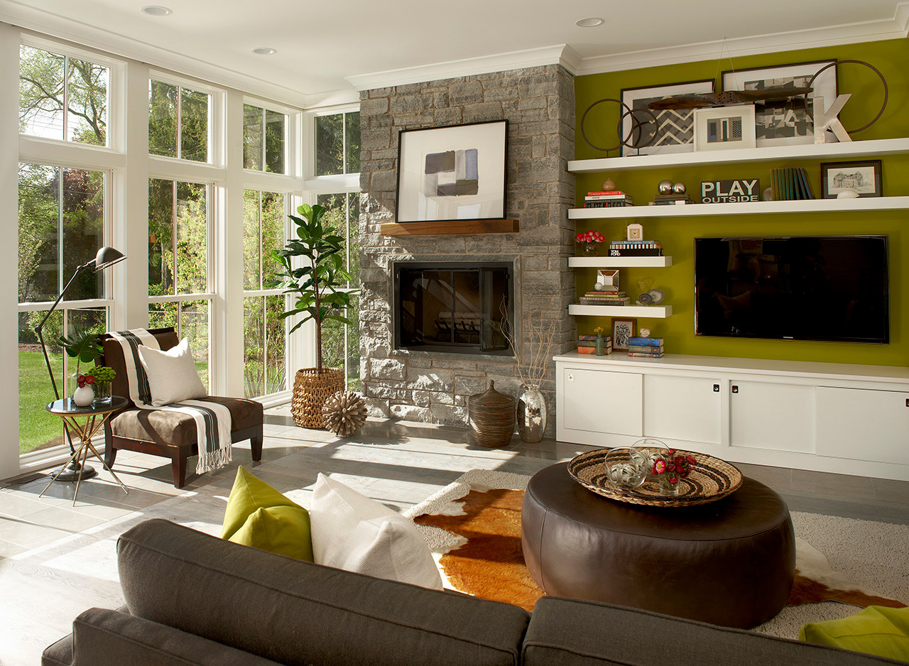 75 Beautiful Living Room With Green Walls Pictures Ideas February 2021 Houzz