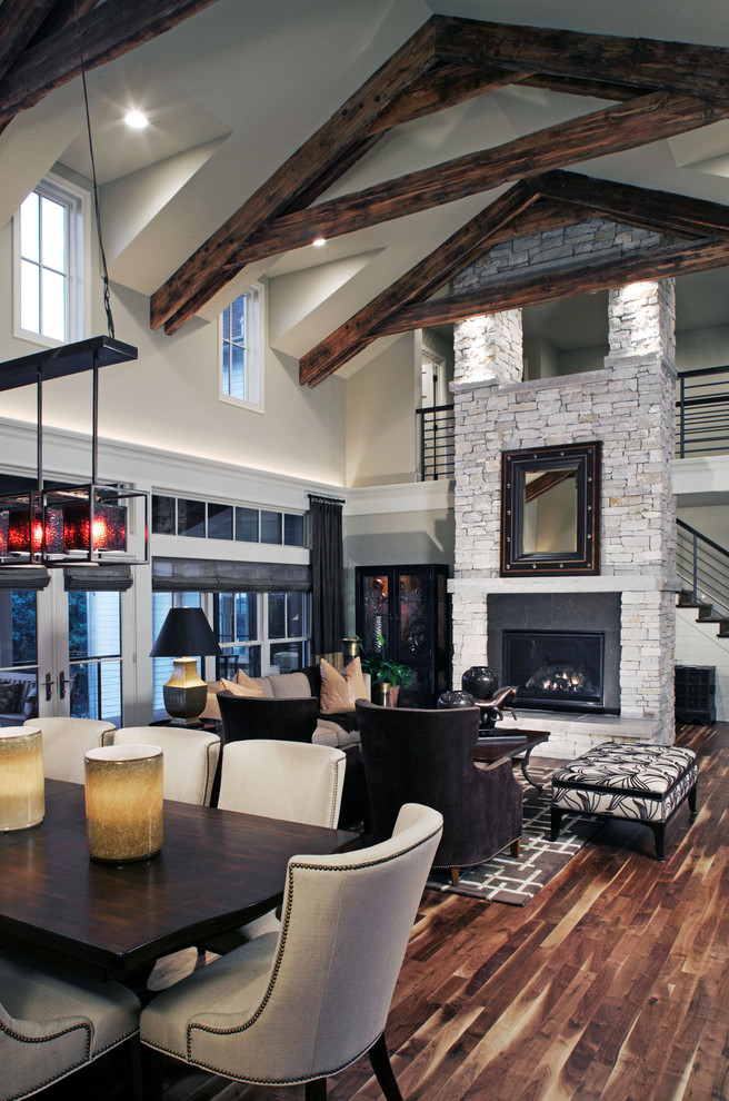 Living room - cottage living room idea in Omaha with white walls, a standard fireplace and no tv