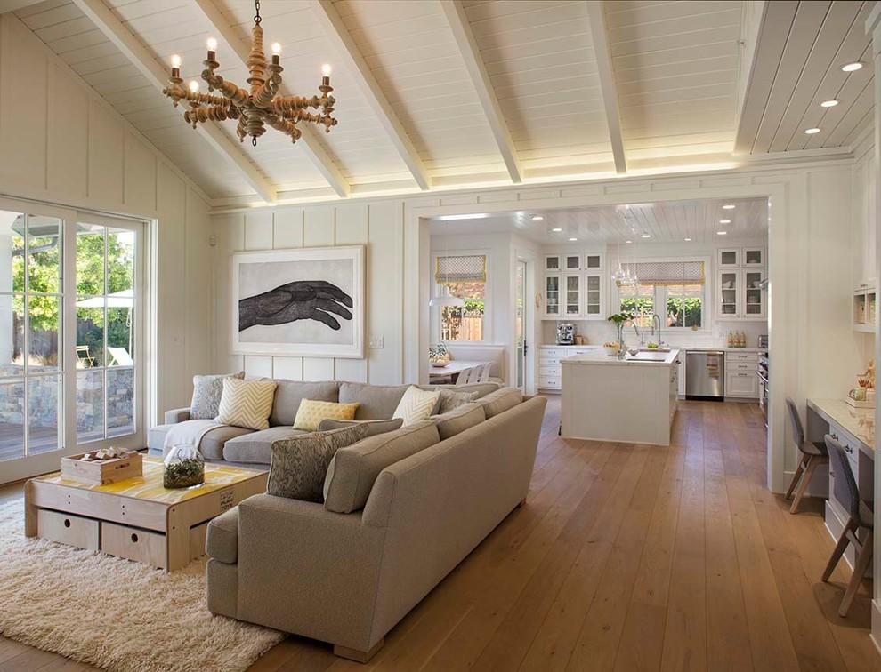 Example of a farmhouse living room design in San Francisco