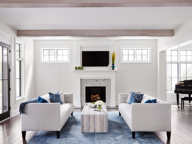 Modern Farmhouse Transitional Living Room Chicago By Schwarz