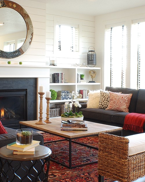 eclectic living room design by boise interior designer judith balis