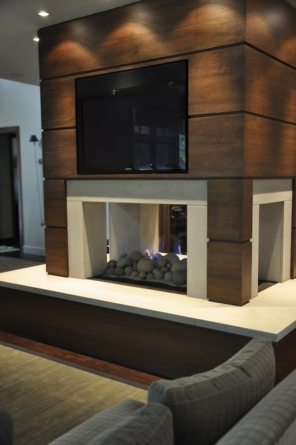 Modern fireplace modern living room detroit by Modern living room with fireplace
