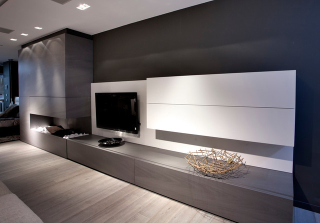 Modern fireplace modern living room dallas by Modern living room with fireplace