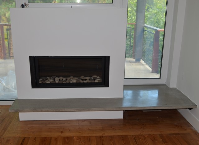 Modern Fireplace With Concrete Floating Hearth Living Room Vancouver By MODE CONCRETE