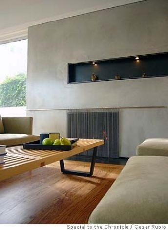 Modern Fireplace With Steel Niche Living Room