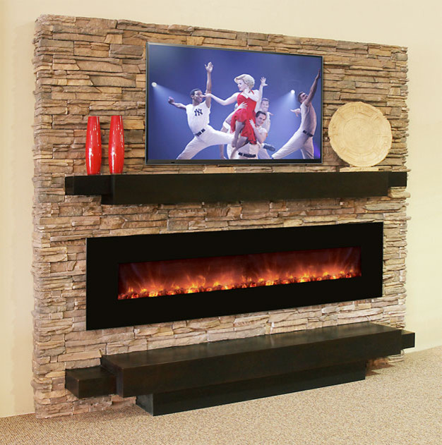 Electric Fireplace with Stone Wall 626 x 631