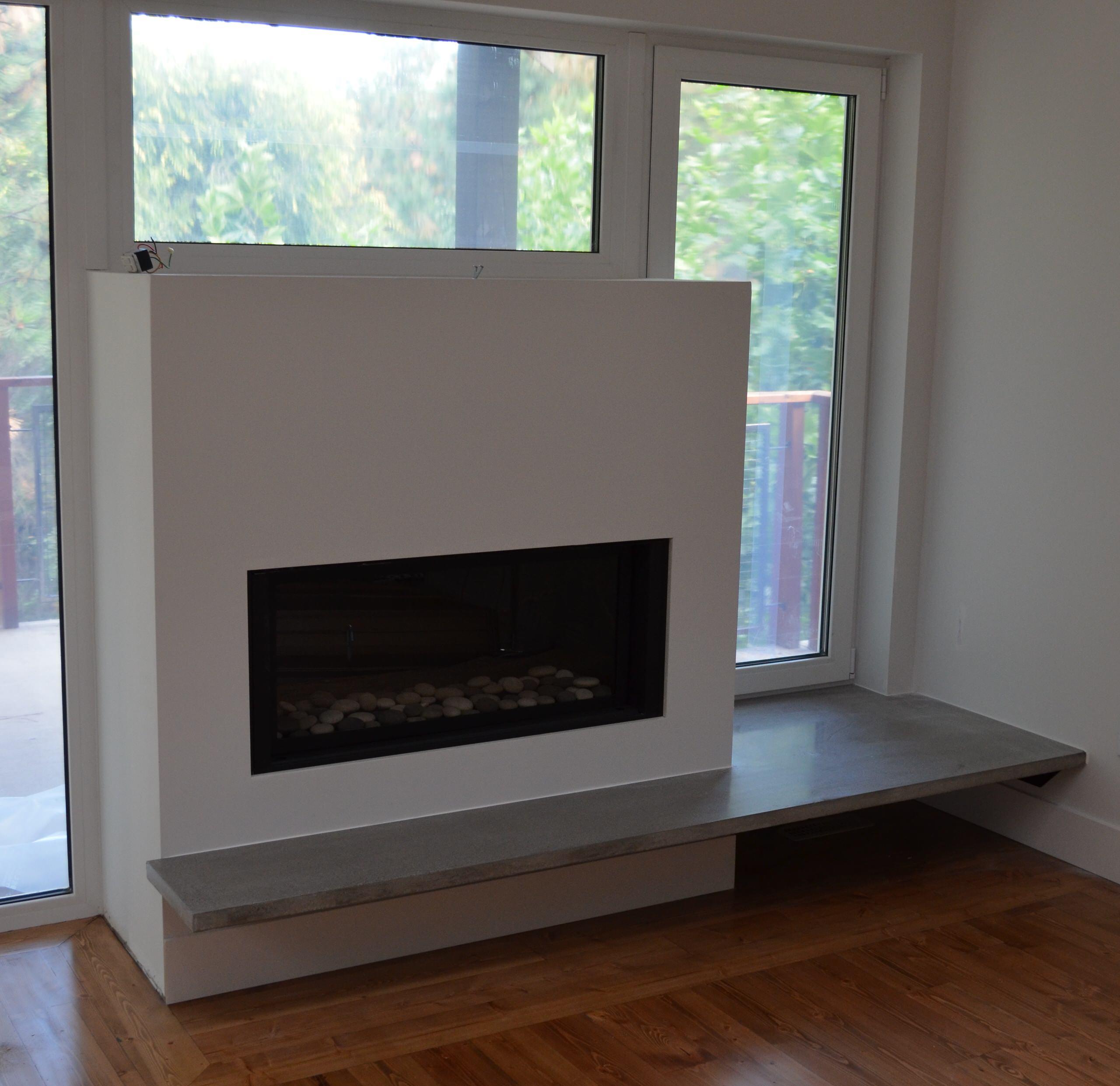 Modern Floating Concrete Fireplace Hearth   Modern   Living Room ...