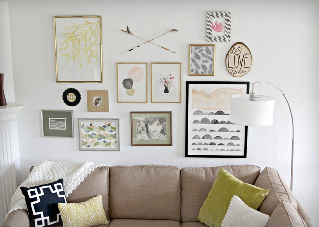 Modern gallery wall modern living room houston by the decor fix - Decorated walls living rooms ...