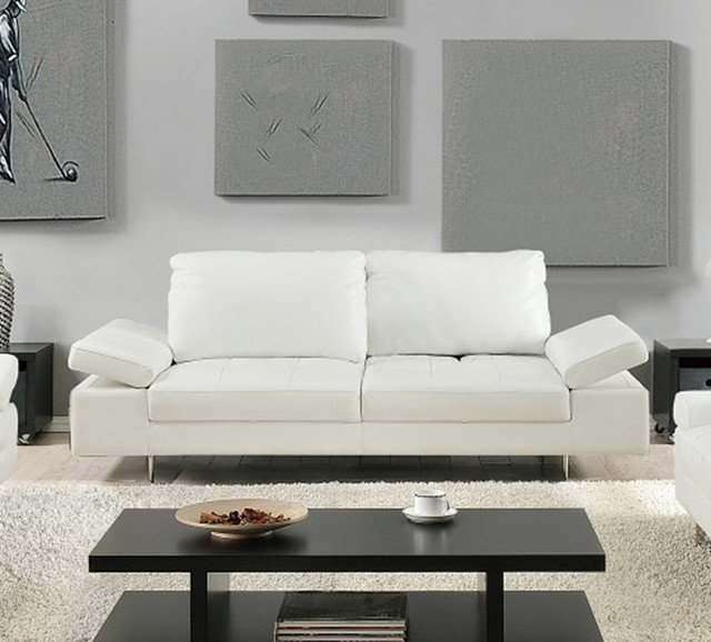 Modern Gia Full Italian Leather Sofa White Modern Living Room New Yor