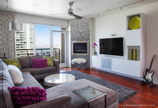 Modern glam downtown condo san diego ca contemporary for Glam modern living room