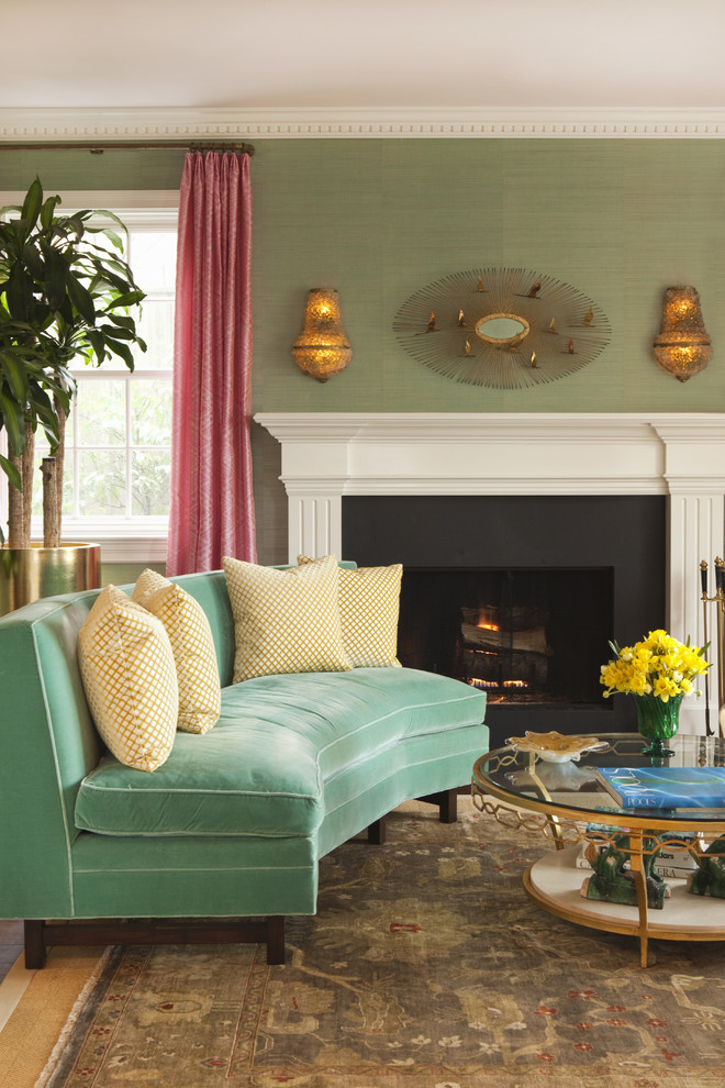Example of a transitional living room design in San Francisco with green walls