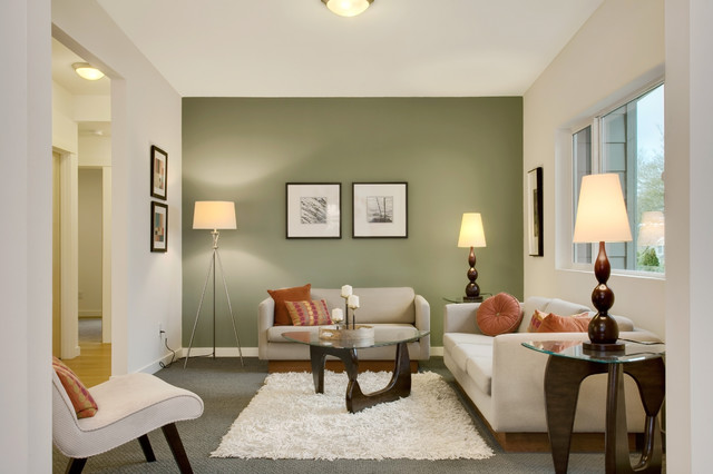 Modern Green Seattle Remodel Transitional Living Room
