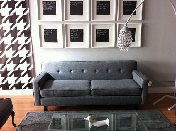 Modern Grey Sofa With Buttons And Art The Sofa Company