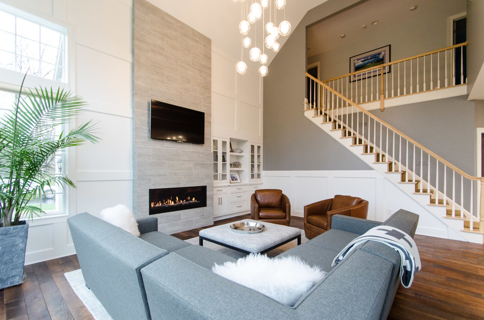 Modern High Ceiling Living Room Transitional Living Room New York By Inde Kitchen Remodelers