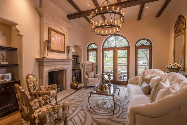 modern hollywood regency mediterranean living room