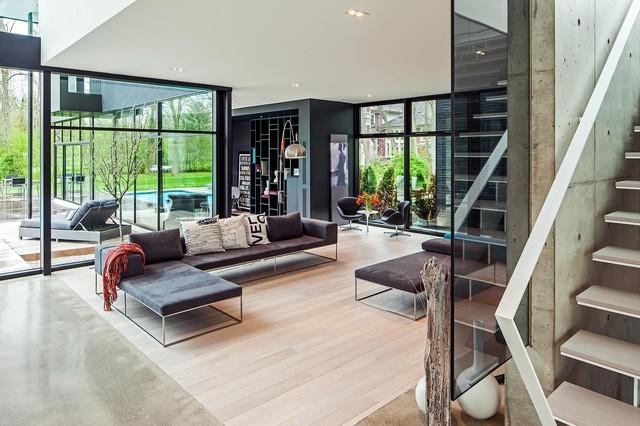 Modern Home in Oakville Ontario scandinavian-living-room