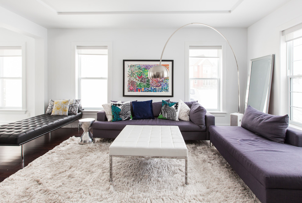Mid-sized trendy living room photo in Other with white walls
