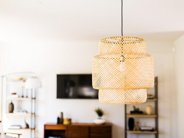 Modern Ikea Sinnerlig Bamboo Pendant Midcentury Living Room Los Angeles