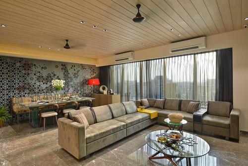 Living Room Wooden False Ceiling Design