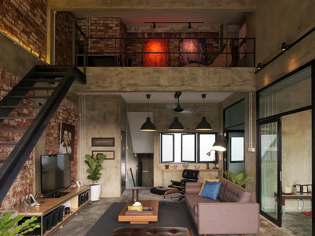 modern industrial loft apartment industrial living. Black Bedroom Furniture Sets. Home Design Ideas