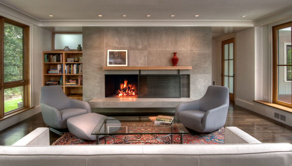 Living room - zen living room idea in Boston with gray walls and a standard fireplace