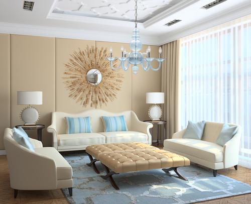Modern Light Blue Translucent Glass Chandelier