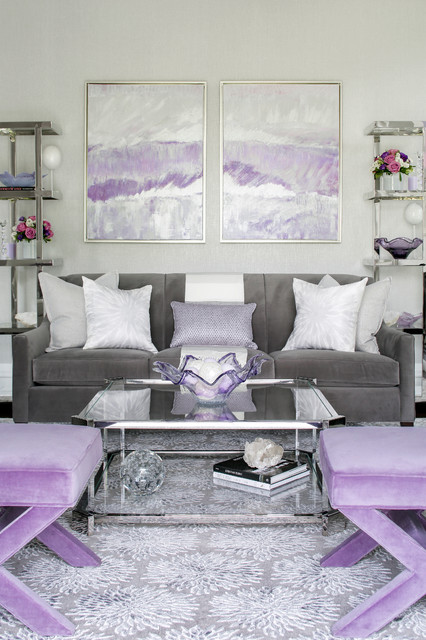 Modern Lilac And Gray Living Room Transitional Living