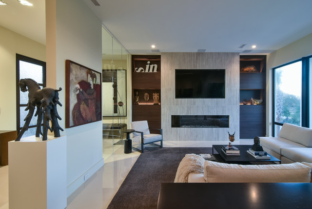 Modern Linear Fireplace Tile Wall Tv Above Bookcase