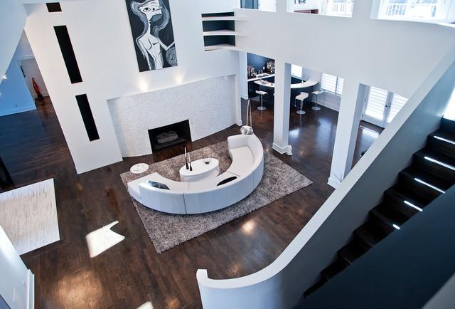Curved Modern Minimal Living Room & Staircase modern-living-room