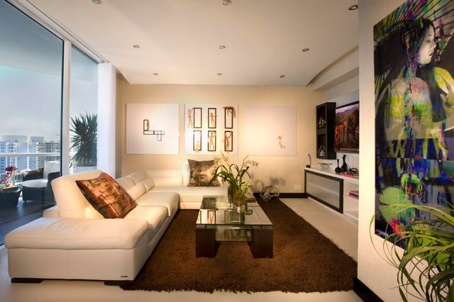 Inspiration For A Modern Living Room Remodel In Miami With Beige Walls