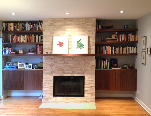 built in bookshelves and cabinets modern living room