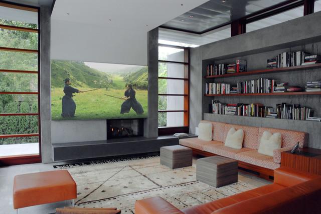 Ispirazione per un grande soggiorno moderno con libreria
