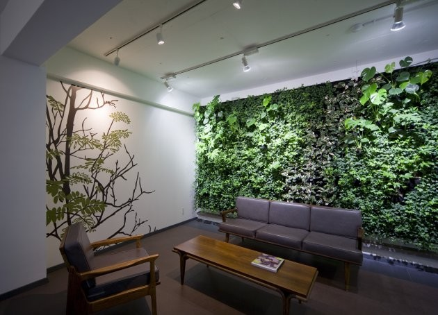Green walls for Receiving room interior design