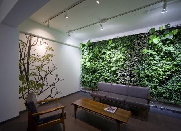 Green Walls Modern Living Room