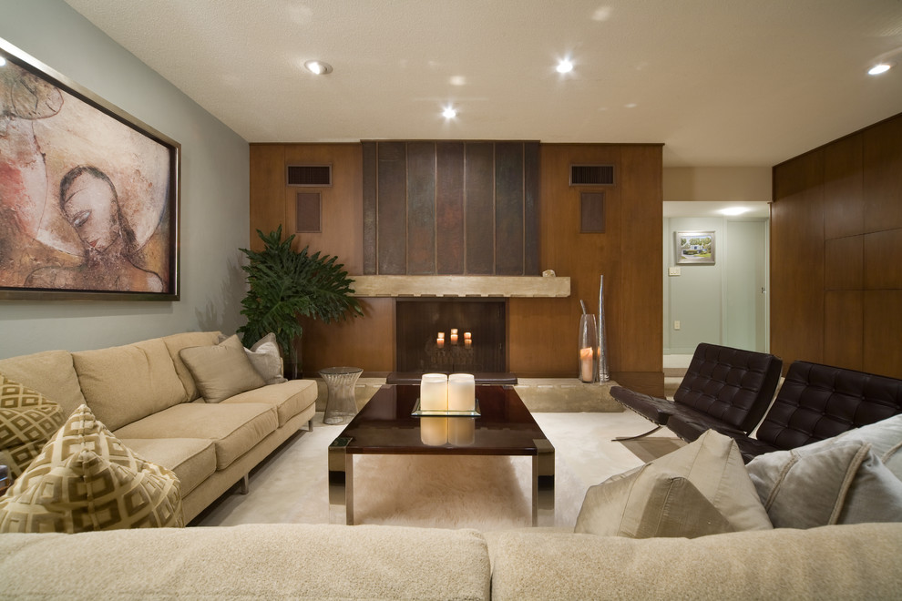 Living room - modern living room idea in Other with a wood fireplace surround and a standard fireplace
