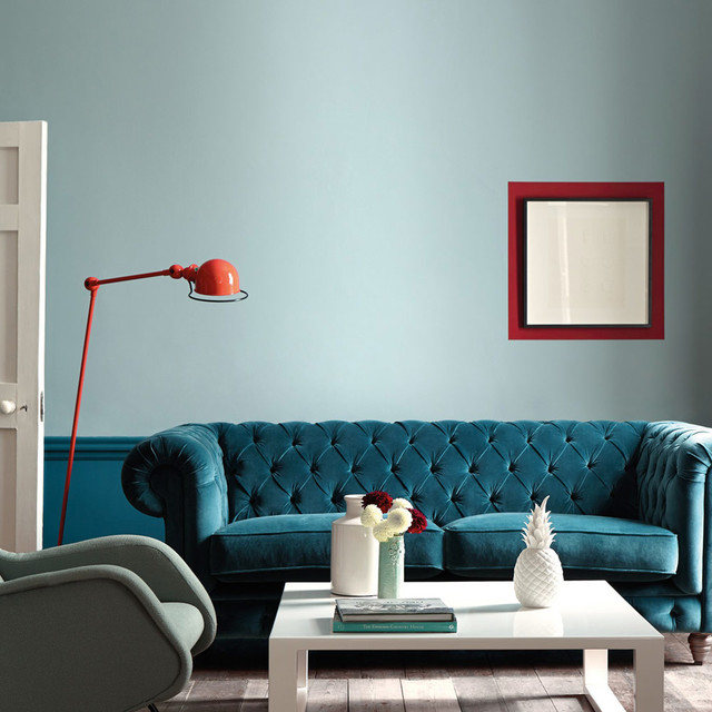 Modern living room in shades of blue contemporary for Modern living room blue