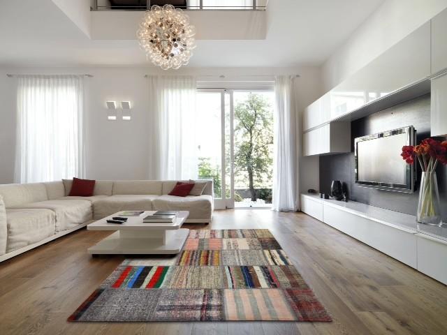 Modern Living Room Patchwork Rag Rug