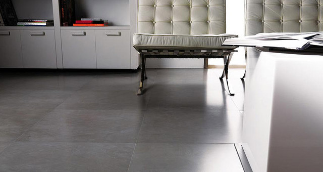 Modern Living Room Tile Flooring microcemento gris floor tiles. porcelanosa - modern - living room