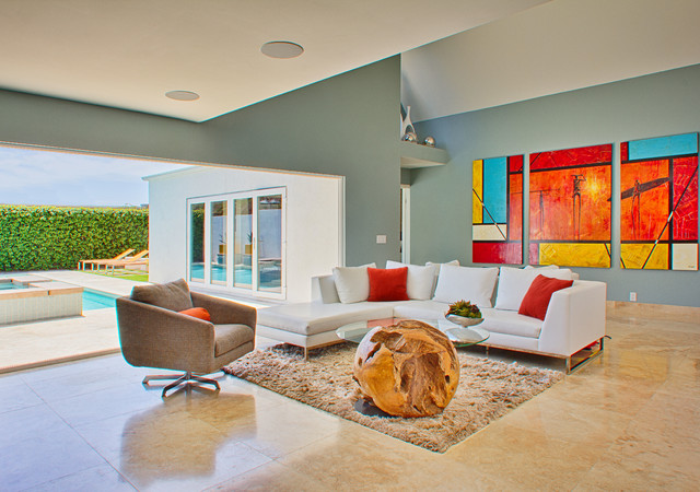 Example Of A Large Minimalist Open Concept Living Room Design In Orange County With Blue Walls