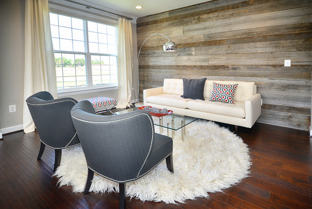 Modern Living Room / Reclaimed Wood Wall - Modern - Living Room ...