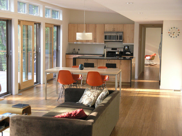 Example of a minimalist open concept living room design in New York. Small Open Floor Plan   Houzz