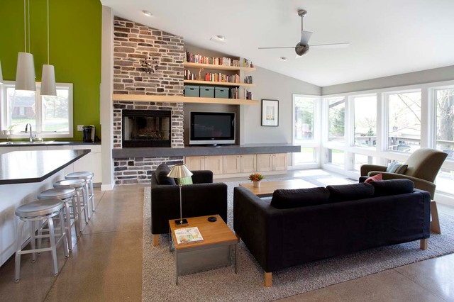 The labbe house project modern living room for Living room and family room next to each other