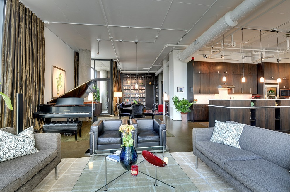 Inspiration for a modern open concept concrete floor living room remodel in Minneapolis with a music area
