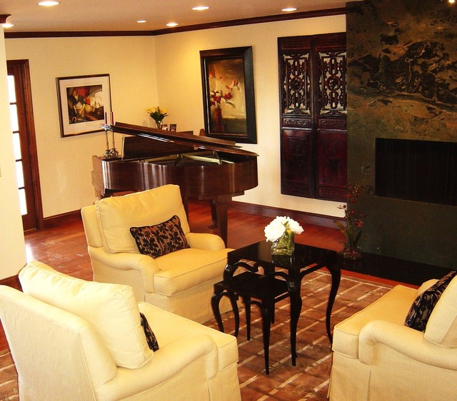 Modern living room with asian accents a third view with for Grand piano in living room