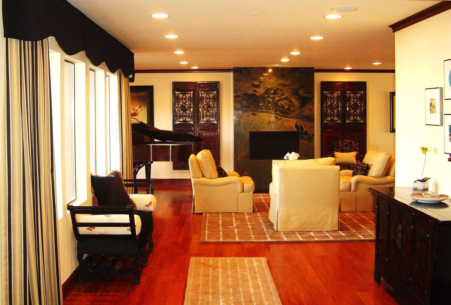 Modern living room with Asian Accents