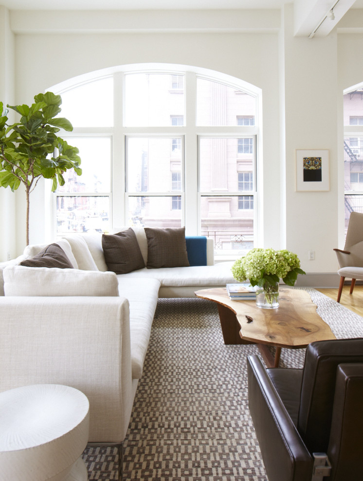 Inspiration for a modern living room remodel in San Francisco with white walls